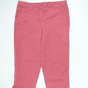 Stretch Pink Capri Cotton Blend Pants
